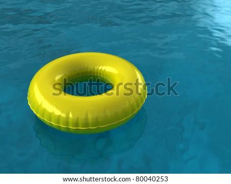 Inner Tube on Blue Pool Water. - stock photo
