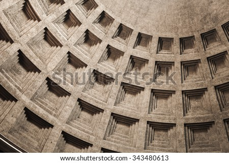 Inner vault of the dome. Pantheon, one of the best-preserved of Ancient Roman buildings in Rome, Italy