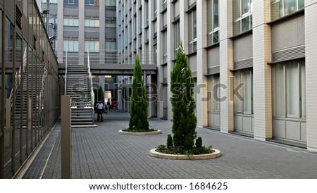 inner yard in modern city space, Japan
