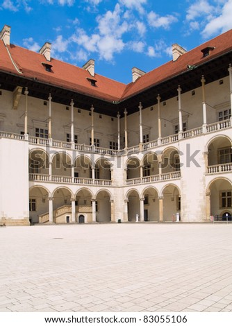 inner yard of royal palace in Wawel, Krakow, Poland