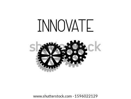 Innovate cogwheel, minimal machinery innovation concept