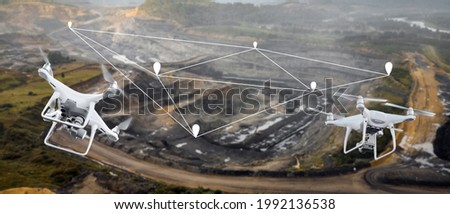 Innovation aerial uav drone copter flying with camera above opencast mining open coal. Concept engineering geology industry. Stok fotoğraf ©