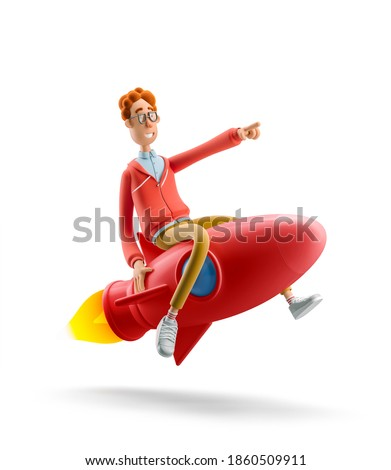 Innovation and Startup Concept. Nerd Larry is flying on a rocket. 3d illustration.