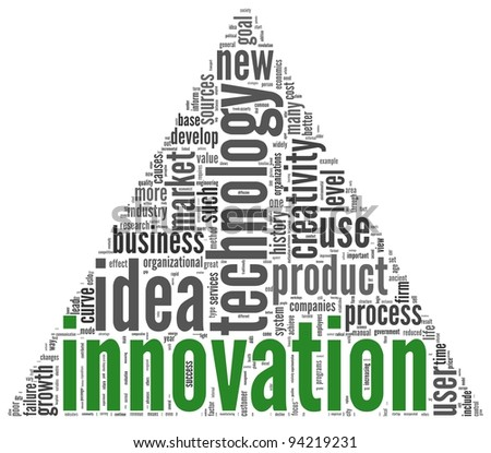 Innovation and technology concept related words in tag cloud on white - stock photo