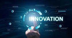 Innovation Concept. Businessman Pointing On Virtual Display, Panorama