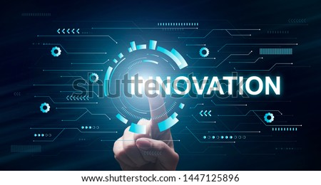 Innovation Concept. Businessman Pointing On Virtual Display, Panorama