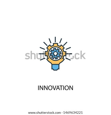 innovation concept 2 colored line icon. Simple yellow and blue element illustration. innovation concept outline symbol design