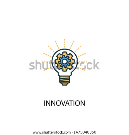 innovation concept 2 colored line icon. Simple yellow and blue element illustration. innovation concept outline symbol design from success set