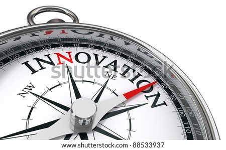 innovation concept compass isolated on white background