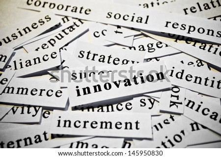 Innovation. Concept of cutout words related with business.