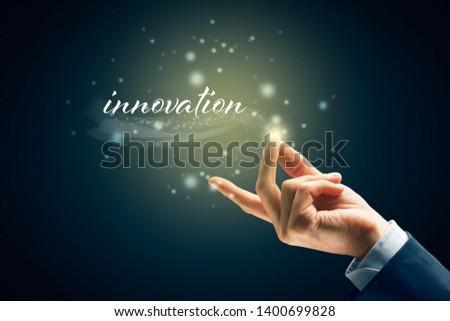 Innovation concept - to be innovative is easy as snap fingers. Magic of business innovation concept.