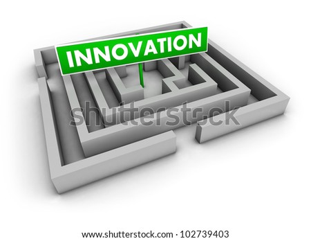 Innovation concept with labyrinth and green goal sign on white background.
