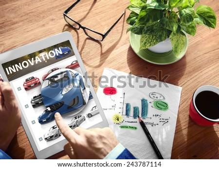 Innovation Hybrid Car Future Digital Tablet Concept