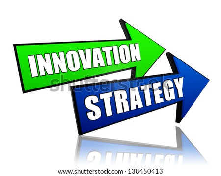 innovation strategy - text in 3d green blue arrows, business concept words