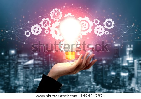 Innovation Technology for Business Finance Concept. Modern graphic interface showing symbol of innovative ideas thinking, research and development study.
