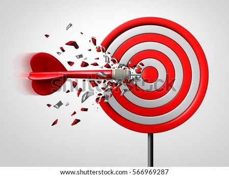 Innovative goal strategy as a business success concept with a dart hitting the target sideways as a metaphor for an alternate route to achievement as a 3D illustration.