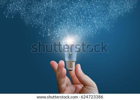 Innovative idea in businessman hand concept design.