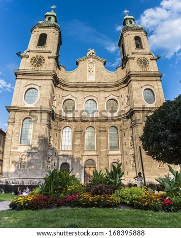 INNSBRUCK, AUSTRIA - AUG 16: Cathedral of St. James (Dom zu St. Jakob), an eighteenth-century Baroque cathedral of the Roman Catholic Diocese of Innsbruck on Aug 16, 2013 in Innsbruck, Austria.