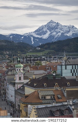 INNSBRUCK, AUSTRIA - OCT 15: The famous Golden Roof and City Tower of the city on October 15, 2013 in Innsbruck