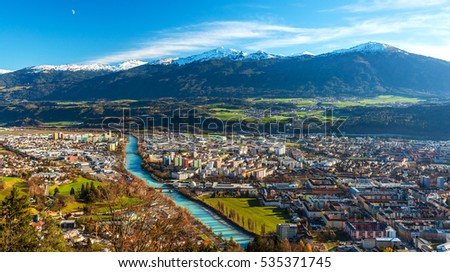 Innsbruck, Austria: wide angle aerial panorama of most popular Austrian city and capital of western state of Tyrol