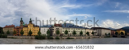 Innsbruck downtown panoramic view with river on front side