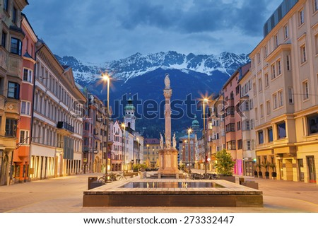 Innsbruck. Image of Innsbruck, Austria during twilight with European Alps in the background.