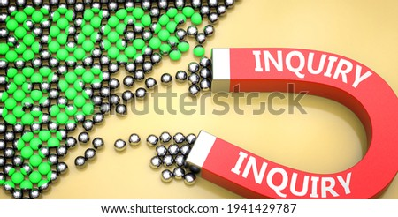 Inquiry attracts success - pictured as word Inquiry on a magnet to symbolize that Inquiry can cause or contribute to achieving success in work and life, 3d illustration Stock photo ©