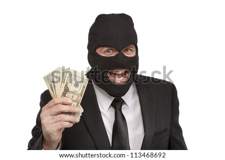 Insane Criminal holding money