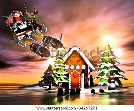 Insane Elves fly a rocket powered santa sled past a gingerbread house in this surreal Merry Christmas scenic