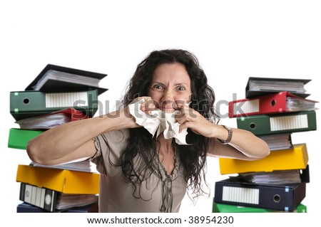 Insane woman with stacks of files around isolated in white