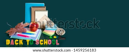 Inscription BACK TO SCHOOL. Still life with school supplies. Green background. Notebooks, notebooks, felt-tip pens, colored pencils, an apple. Colorful picture. Copy space. Banner.