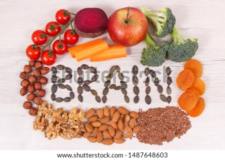 Inscription brain and best nutritious healthy natural food for health and good memory