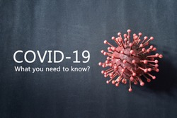 Inscription Covid-19 What you need to know? on black background with virus cell simulation.