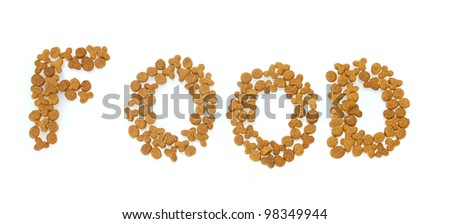 Inscription Food of dry cat food isolated on white