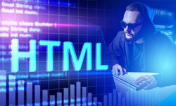 Inscription HTML next to man. Guy in hood next to computer. Concept - he writes HTML code. Snippets of code in background. HTML logo in neon light. He is learning programming language.
