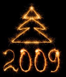 Inscription 2009 made by sparkler on a black background
