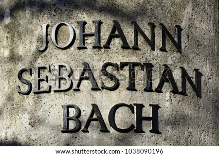 Inscription of the Bach memorial in Leipzig: