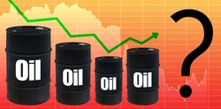 Inscription oil on black barrels. Concept is the lack of price forecasts. Future of petrolium prices is unknown. Schedule is wavering. The rebound in the cost of petroleum products. Question
