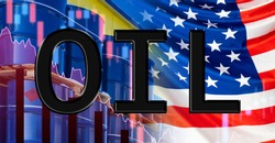 Inscription OIL on the background of the US flag. The concept is to reduce oil consumption in America. Concept - graphs show the level of shale oil production. Barrels. Fall in crude petrolium prices