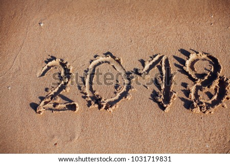 inscription on the sand, the inscription on the shore of the ocean in the summer of year #1031719831