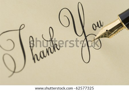 Inscription Thank you with gold pen