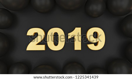 Inscription 2019 volume figures. 3D graphics on a black background. New year's illustration in gold with black. #1225341439