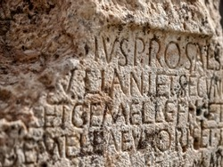 Inscriptions found in the ancient Roman temple area in Baalbek, Lebanon