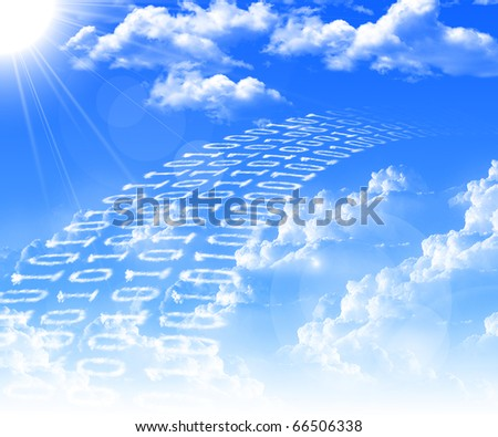 Inscriptions of zeros and ones of the clouds against the blue sky. The symbol of high technology.