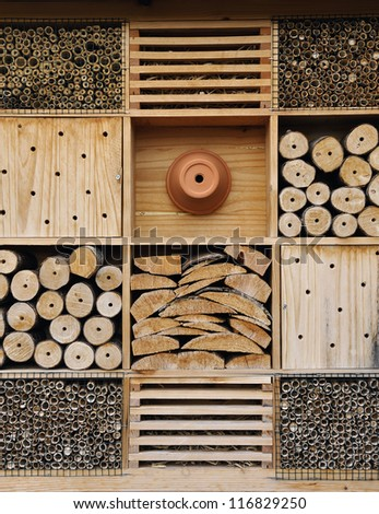 Insect hotel. It is used for attract good bugs insects for garden plants