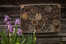 Insect house -hotel, made of used coffee cans and various wooden and plants parts