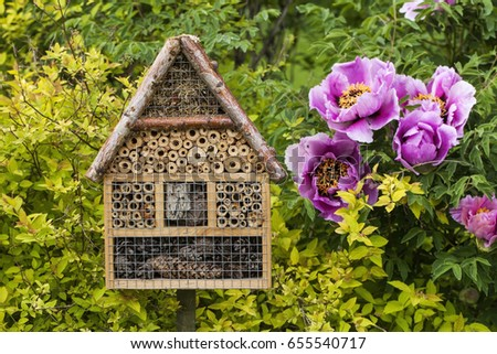 Insect house in a summer garden #655540717