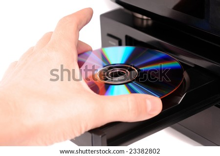 Inserting a disc into a DVD or CD player