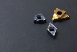 inserts positive rhombic, trigon with hole. Coated, for steel stainless cast iron. Cutting facing boring chamfered parts automotive, jig, fixture.