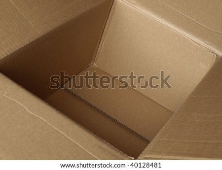 Inside a box - selective focus at the bottom of the box